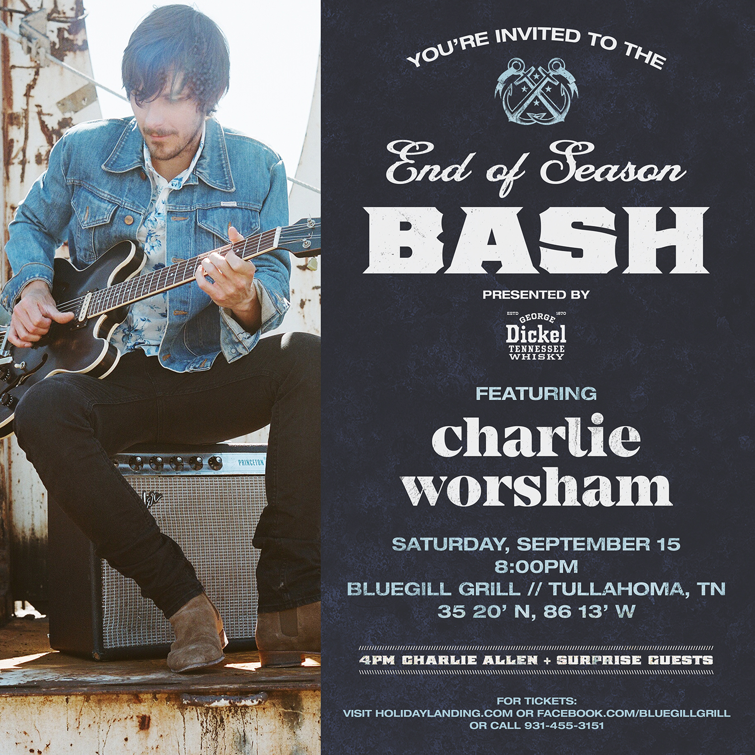CHARLIE WORSHAM LIVE AT THE BLUEGILL GRILL TULLAHOMA TN PRESENTED BY GEORGE DICKEL SEPTEMBER 15 2018 8 PM